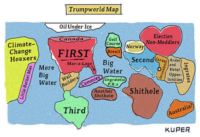 Drawing - Trumpworld Map by Peter Kuper