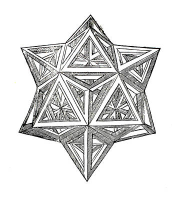 Pen And Ink Drawing Drawing - Truncated And Elevated Hexahedron With Open Faces by Leonardo da Vinci