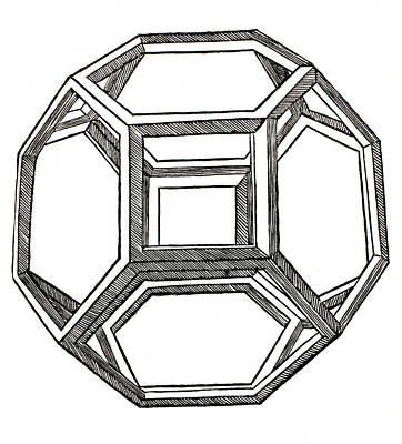 Pen And Ink Drawing Drawing - Truncated Octahedron With Open Faces by Leonardo Da Vinci