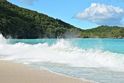 Photograph - Trunk Bay Waves Crash Hard by Frozen in Time Fine Art Photography