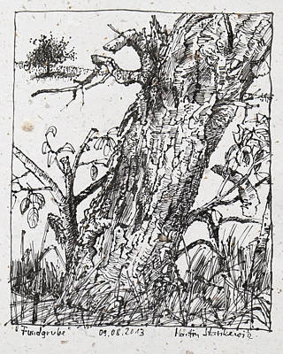 Drawing - Trunk Of A Cherry Tree Ink Drawing by Martin Stankewitz