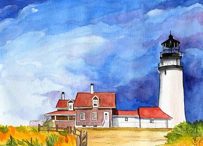New England Lighthouse Painting - Truro Lighthouse by Dawnstarstudios