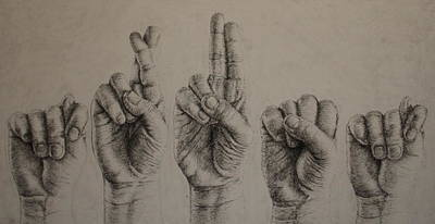 Sign Language Drawing - Trust by Lindsey Cockrum