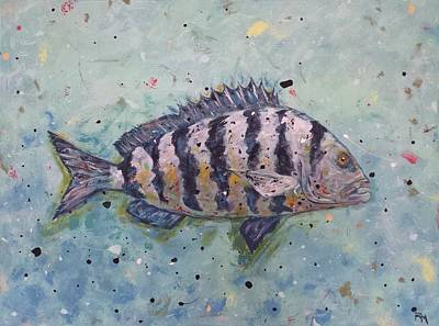 Flounder Painting - Trustee by Ryan M