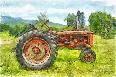 Trusty Old Red Tractor Pencil Art Print by Edward Fielding