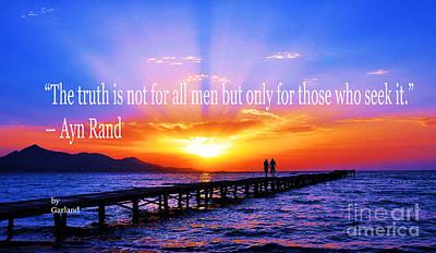 Ayn Rand Wall Art - Mixed Media - Truth  by Garland Johnson