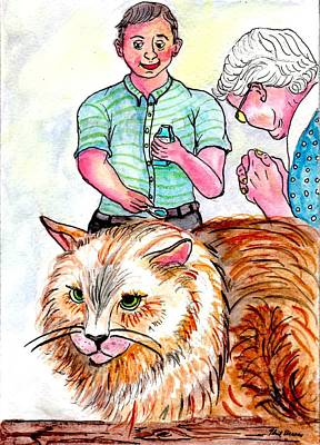 Trying To Give Grandmas Cat Her Medicine Art Print