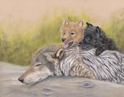 Wolf Pup Painting - Trying To Sleep by Cristolin O