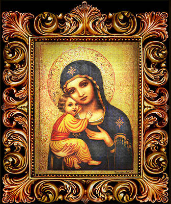 Byzantine Mixed Media - Tryptichon Madonna With Frame by Ananda Vdovic