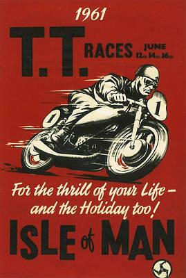 Race Digital Art - Tt Races 1961 by Georgia Fowler