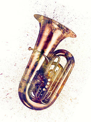 Digital Art - Tuba Abstract Watercolor by Michael Tompsett