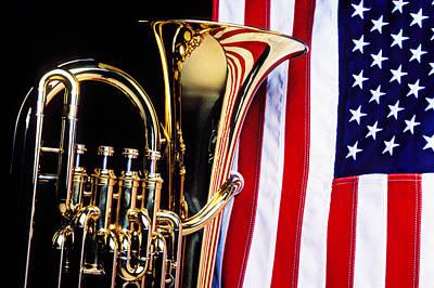 Tuba Photograph - Tuba And American Flag by Garry Gay