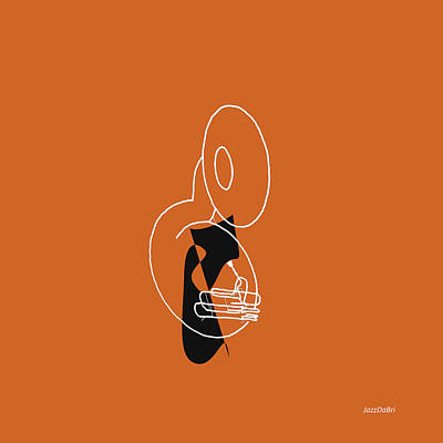 Digital Art - Tuba In Orange by David Bridburg