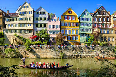 Photograph - Tubingen - Colorful Old Houses And A Punt by Matthias Hauser