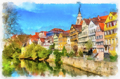 Painting - Tubingen Germany Neckarfront Aquarell Painting by Matthias Hauser