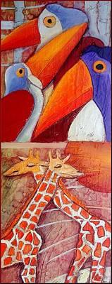 Het Painting - Tucans And Giraffes by Anita