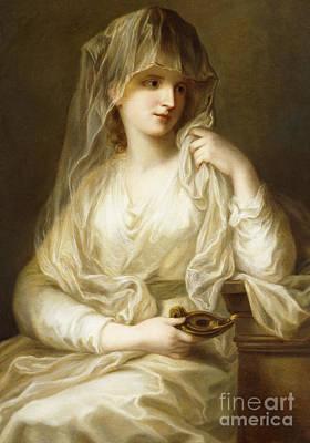 Tuccia, The Vestial Virgin, Three Quarter Length, Holding A Lamp Art Print