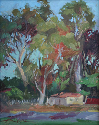 Painting - Tucked Away Catalina Island - Plein Air by Betty J Billups