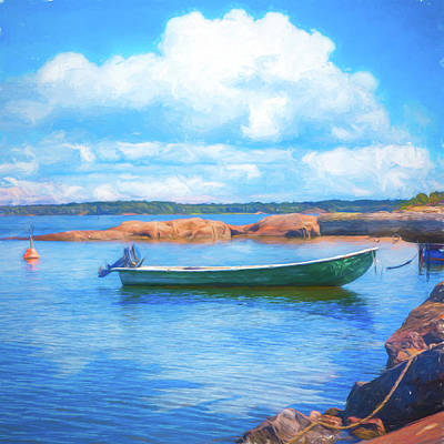 Photograph - Tucked In The Harbor Oil Painting by Debra and Dave Vanderlaan