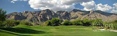 Tucson Golf Course And Mountains Print by Rincon Road Photography By Ben Petersen