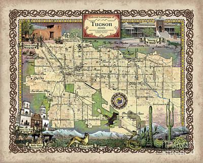 Painting - Tucson Map, Tucson Az, Tucson Poster, Tucson Gift, Tucson Arizona, Tucson Az, Tucson Art, Map Art, T by Lisa Middleton
