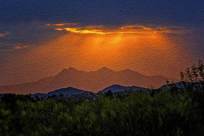 Mark Myhaver Royalty Free Images - Tucson Mountains Sunset op30 Royalty-Free Image by Mark Myhaver