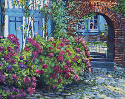 Painting - Tudor Hydrangea Garden by David Lloyd Glover