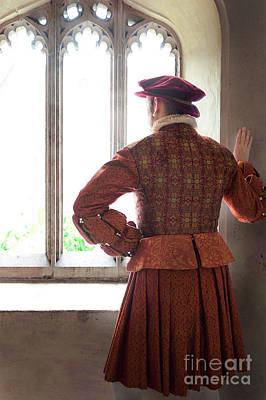 Tudor Man At The Window Art Print by Lee Avison