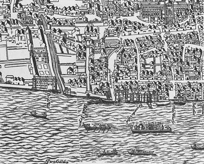 Plan View Drawing - Tudor Map Showing Detail Of The River Thames by Ralph Agas