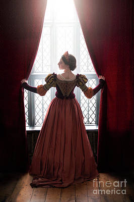 Photograph - Tudor Woman Parting Curtains by Lee Avison