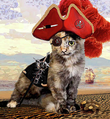 Mixed Media - Teuti The Pirate - Cats In Hats Series by Michele Avanti
