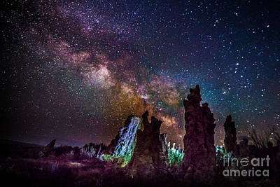 Photograph - Tufa Towers At Mono Lake With Milkyway Galaxy by Jim DeLillo
