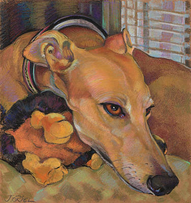 Rescued Greyhound Painting - Greyhound by Jane Oriel