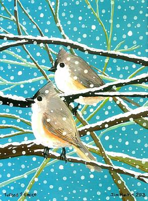 Painting - Tufted Titmice by Jim Harris