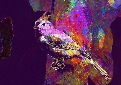 Tufted Titmouse Digital Art - Tufted Titmouse Bird Animal  by PixBreak Art