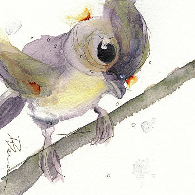 Titmouse Painting - Tufted Titmouse by Dawn Derman