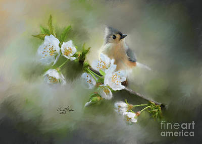 Titmouse Digital Art - Tufted Titmouse by Lena Auxier