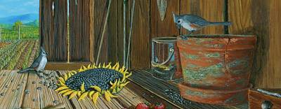Tufted Titmouse Painting - Tufted Titmouse With Sunflower by Susan Schneider