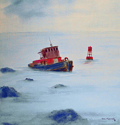 Watercolor Seascape Painting - Tug Aground by Ken Figurski