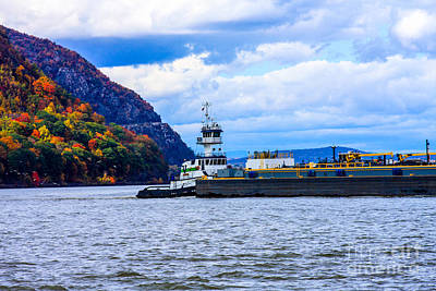 Hudson River Tugboat Photograph - Tug Boat And Barge On The Hudson River by William Rogers