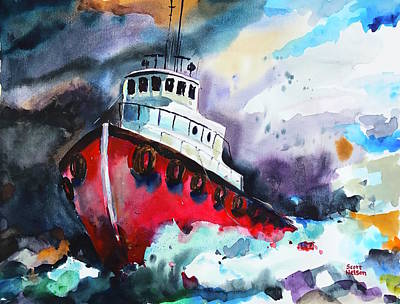 Scott Nelson And Son Painting - Tug Boat Storm  by Scott Nelson