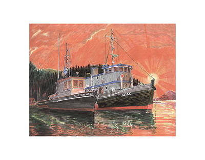 Tug Boats Anchored In Red Sky Original by Jack Pumphrey