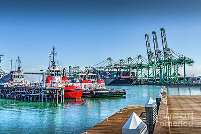 Photograph - Tug Boats And Gantry Cranes  by David Zanzinger