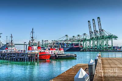 Photograph - Tug Boats And Gantry Cranes  by David Zanzinger