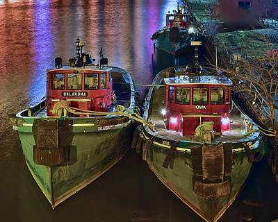 Tug Boats At Night Art Print by Frozen in Time Fine Art Photography