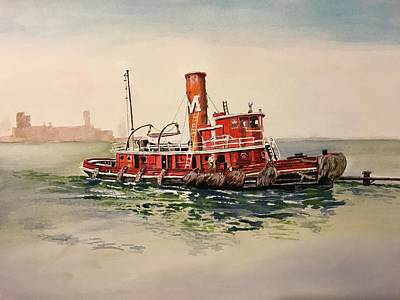 Painting - Tug Maintenance by Rob Peters