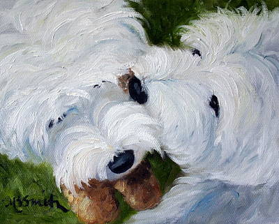 White Dog Painting - Tug Of War by Mary Sparrow