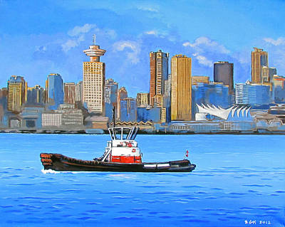 City Scape Painting - Tug Passing 5 Sails by Eric Hansen