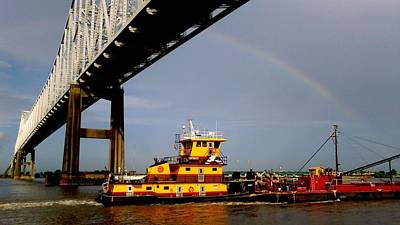 Photograph - Tug Towards And Under A Rainbow On The Mississippi River In New Orleans by Michael Hoard