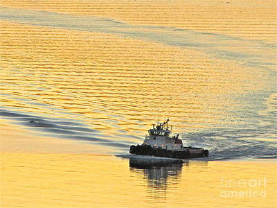 Tugboat At Sunset Art Print by Sean Griffin
